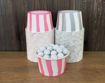 Silver and Pink Paper Snack Cups - Set of 48 - Striped Candy Cups - Birthday Party - Mini Ice Cream Cup - Paper Nut Cup - Same Day Shipping