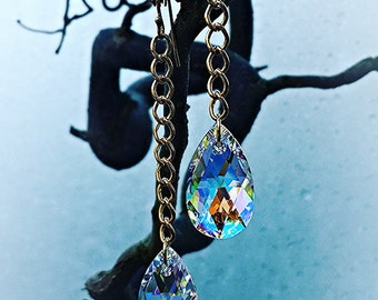 Swarovski Teardrop and Gold Plated Hook and Chain Earrings