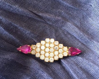Brooch  white and pink strass