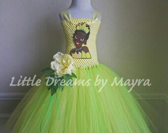 Princess Tiana inspired tutu dress and matching headpiece, The princess and the frog inspired birthday costume size nb to 10years