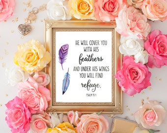 Christian Wall Art - Feather Art - Christian Gifts - Bible Verse Wall Art - Christian Art - He will cover you with his feathers - faith sign