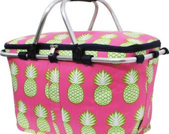 Embroidered Personalized Monogrammed Large Pineapple Collapsible Insulated Market Basket with Lid & Navy Trim