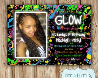 glow in the dark party happy birthday banner / neon birthday, Party invitations