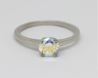 1ct Mystic Topaz solitaire ring available in Titanium or White Gold - engagement ring - wedding ring - handmade ring
