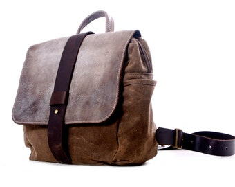 Water proof Trail Camera  Backpack /   Faded Leather and waxed canvas by Martexin Originals   /SLR/ For Her / For Him Convertible + Insert