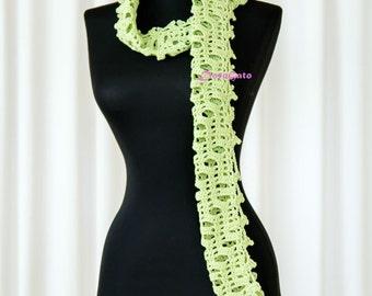 Green scarf, Crochet scarf, long scarf, lace scarf, Skinny scarf, handmade scarf, women accessory, Spring fashion, scarf with holes, fancy