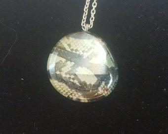 "Glass Pendant, Snake Skin Print, 19"" chain"