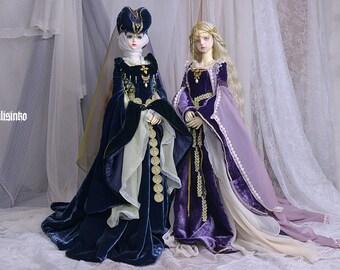 BJDs dolls outfits OOAK [Medieval Lady] and [Medieval Elf] dress