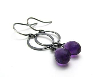 Oxidized silver amethyst earrings, purple gemstone marquis hoop earrings, amethyst dangle earrings, February birth stone jewelry