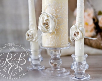 Lace ivory wedding unity candle, vintage inspired, personalized votive candles, handmade flower, pillar candles, lace wedding, 3pcs