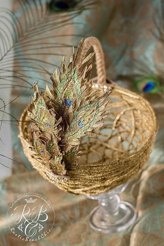 Flower Girl Baskets Peacock : Peacock feather rustic wedding basket flower girl