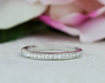 More Sizes! Small Channel Wedding Band, Delicate Half Eternity Ring, Bridal Engagement Ring, Man Made Diamond Simulants, Sterling Silver