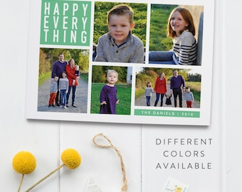 Happy Everything Holiday Card - Five Photo Christmas Card - Custom Christmas Card - Printable Christmas Card - Photo Christmas - Custom Card