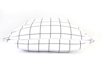Monochrome Pillow, Scandinavian, Black, White, Lines, Modern, Abstract, Home Decor, Living Room, Bedroom, Cushions, Pillows. Grid Pillow