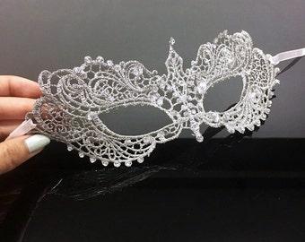 Silver Lace Mask, RHINESTONES, lace mask, shades of silver, silver lace, lace masquerade mask, silver mask, silver lace mask w/ rhinestones