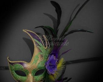 Fashionable Womens Venetian Masquerade Mask w/ Feathers, Flowers,  Mardi Gras Acrylic Glitter Work