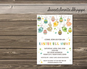 Easter Egg Hunt Invitation, Easter Brunch Invitation, Easter Celebration Invitation, Bunny Invitation, Eggs Invitation, Birthday Invitation