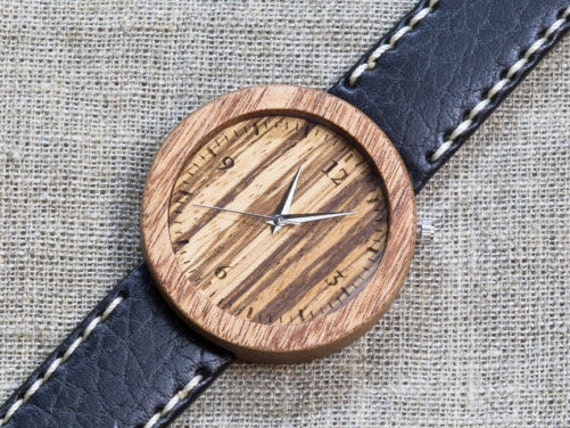 African Sapele and Zebrano wood watch , Majestic Watch, Black and White Genuine Leather strap + Any Engraving / Gift Box. Anniversary  gift
