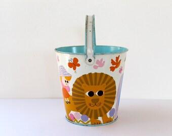 Vintage Tin Lithograph Children's Sand Pail, Vintage Tin Sand Bucket, Vintage Easter