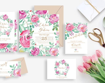 Printable wedding stationery kit: wedding invitation + rsvp, save the date, diner invitation, thank you card - Floral - Boho, Watercolor