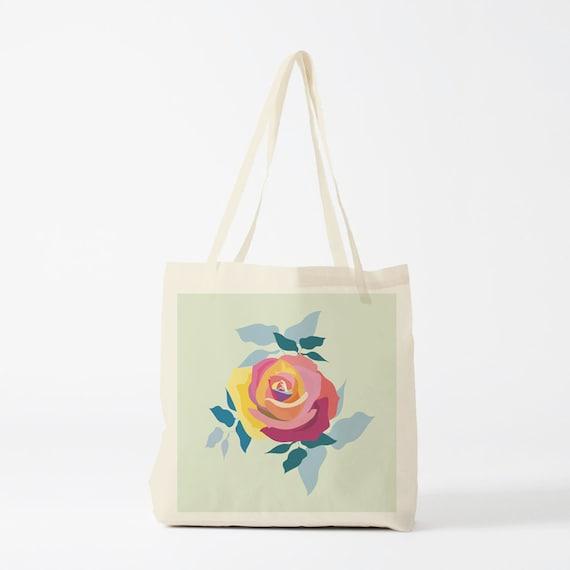 Tote bag, Rose, canvas bag, groceries bag, reusable bag, student bag, gift women, gift for coworker, novelty gift, gift sister, gift besties