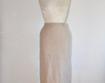 50s oatmeal wool skirt / 1950s wool pencil skirt / vintage wool straight skirt