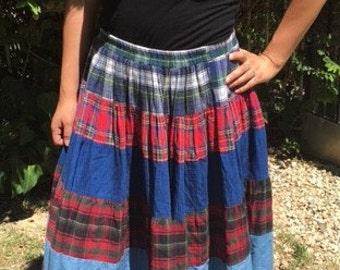 Maxi skirt, hippie,festival skirt,denim,plaid, Free US shipping