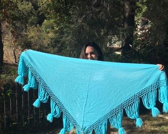 Blue knit shawl, fringed Shawl, wrap, BoHo
