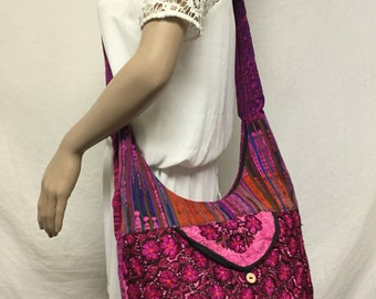 Free Ship Guatamalin Embroidered Cross Body Shoulder Bag Purple Pink