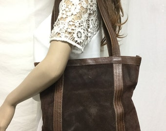 Brown Leather Tote,bag, purse,Shoulder Bag,brown leather suede