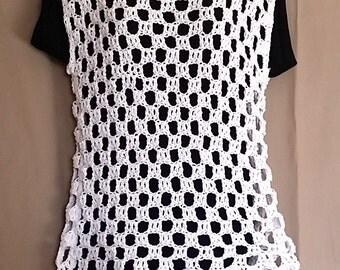 Women's White Sweater Crochet Sleeveless Boho Hippie Top M L Handmade Cotton Fringed Layering (0716CA)