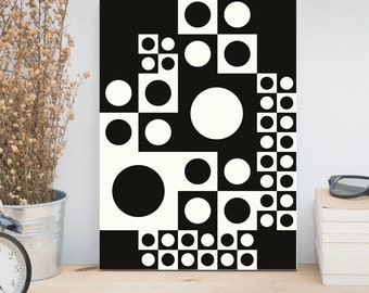 Abstract print, Mid century modern, Scandinavian design, Black and White wall art, Verner Panton pattern, Retro poster, Home decor