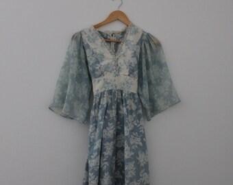 1970s Boho Prairie Mini Dress