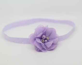 Lavender Headband, Purple Headband, Lavender Flower Headband, purple baby headband, lavender birthday headband, purple flower clip