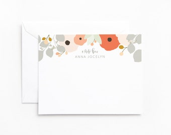 Personalized Flat Card Set of 12 | Floral Custom Stationery Notecards with Hand Lettered Calligraphy and Illustration : Bouquet
