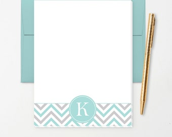 Personalized Note Pad // Teal, White, Grey Chevron with Monogram Initial // S107