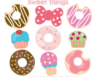 Sweets Clipart - Donuts Clip Art - Ice Cream Cupcake Party - Party Clipart