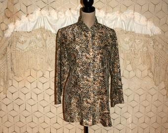 Animal Print Tunic Top Silk Blouse Long Tops African Ethnic Nehru Mandarin Collar Earthy Fall Clothing Medium Large Womens Clothing