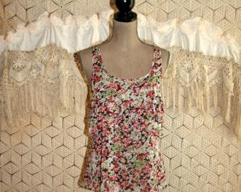 Romantic Boho Summer Top Sleeveless Chiffon Blouse Earthy Floral Top Sheer Scoop Neck Ruffles Boho Clothing Express Small Womens Clothing