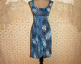 Empire Waist Dress Small Blue Print Sleeveless Knit Dress Summer Dress Abstract Flared Midi High Waist Dress Size 4 Dress Womens Clothing