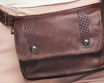 pocket belt fanny pack in recycled leather