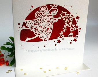 Special Granddaughter Christmas Card laser Cut Delicate Cut Quality Heavy Board with Foiled Insert Girly Fairy Dust Fairy Angel (3666)