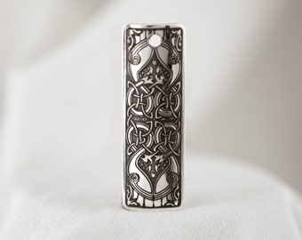 Celtic Art Pendant Etched in Sterling Silver from The Macregol Gospels, Handmade in Scotland.