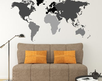 Wall Vinyl WORLD MAP Decal removable Vinyl Mural Sticker Geography Multicolor Continents up to 9ft wide