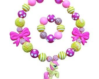 My little pony necklace, Fluttershy necklace, mlp necklace, bubblegum necklace, chunky necklace, flutter shy, my little ponies, bracelet set