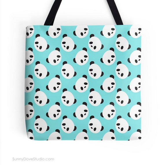 cute panda tote bag canvas totes bags fun kawaii bear pattern