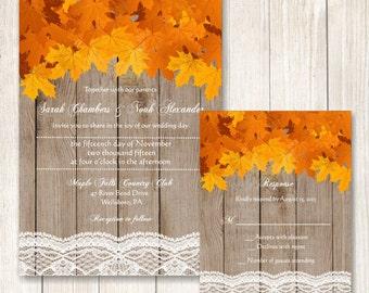 Fall Wedding Invitation, Fall Leaves Wedding Suite, Rustic Maple Leaves Wedding Invite, Barn Wood Lace and Maple Leaves Wedding Invitation