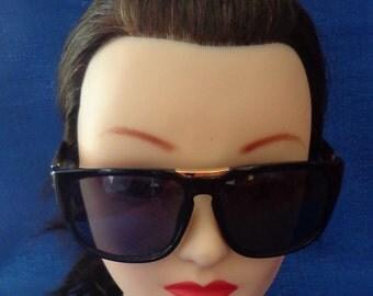 Vintage Shiny Black Sunglasses, Gold Accents Sunglasses,Deadstock Sunglasses