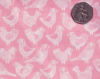 Organic quilting cotton. Pink fabric. Bird print fabric. Organic quilting supplies. Quilt fabric. Cloud 9 fabric. Sold by QUARTER METRE