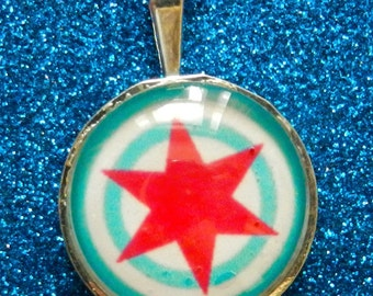 Chicago flag mod-style target necklace